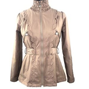 Betsey Johnson Jackets & Coats - Betsey Johnson Tan Smocked Zipper Jacket Sz.Small